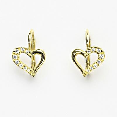 Zlaté náušnice s čirými zirkony, srdce, náušnice ze žlutého zlata, NK 1322