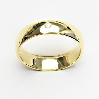 Zlatý prsten, hladký kroužek se zirkonem, snubní prsten, T 1132