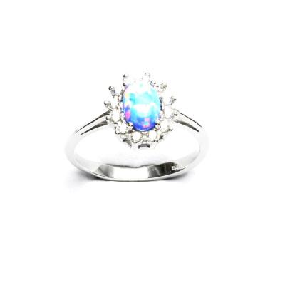 Stříbrný prsten Kate, světle modrý syntetický opál, čiré zirkony, T 1480