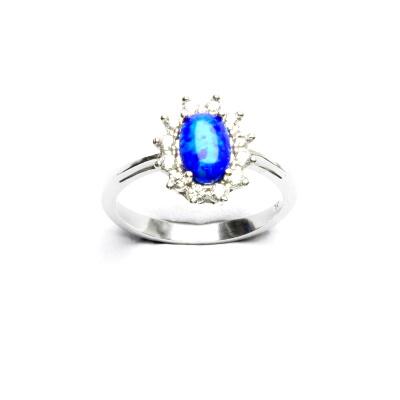Stříbrný prsten Kate, tmavě modrý syntetický opál, čiré zirkony, T 1480