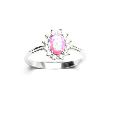 Stříbrný prsten Kate, růžový syntetický opál, čiré zirkony, T 1480