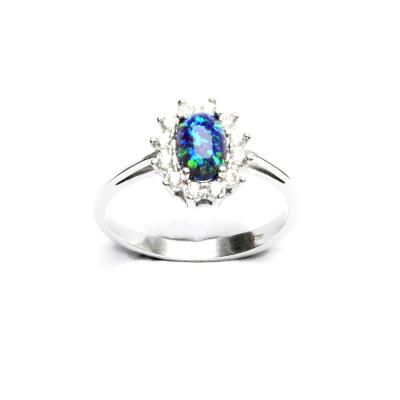 Stříbrný prsten Kate, zelený syntetický opál, čiré zirkony, T 1480