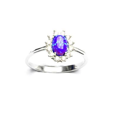 Stříbrný prsten Kate, fialový syntetický opál, čiré zirkony, T 1480