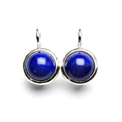 Stříbrné náušnice, přírodní lapis lazuli, NK 1503