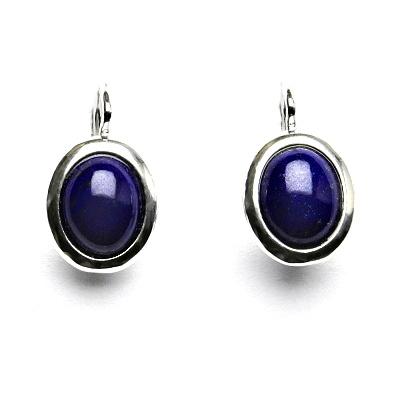 Stříbrné náušnice, přírodní lapis lazuli, 10 x 8 mm, NK 1453