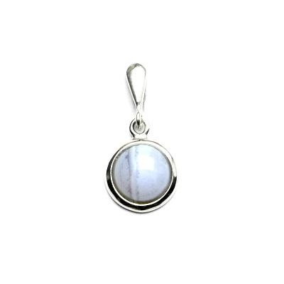 Stříbrný přívěsek, přírodní modrý achát - chalcedon, P 1503