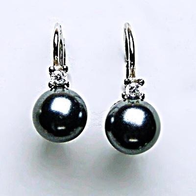 Stříbrné náušnice s umělou černou perlou 606fee684d5