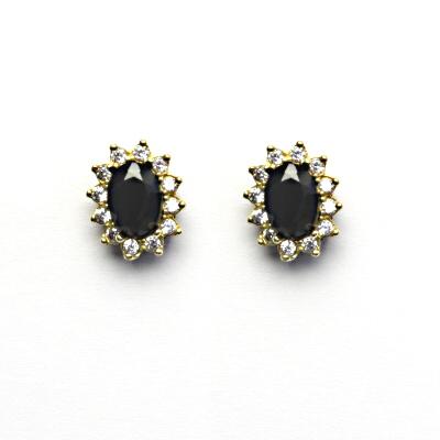 b4d1256f6 Zlaté náušnice Kate, přírodní černý spinel, čiré zirkony, žluté zlato, NŠ  1480 empty