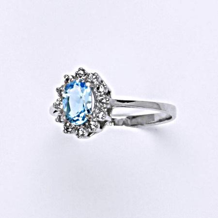 Stříbrný prsten Kate, přírodní topaz swiss a čiré zirkony, prstýnek ze stříbra