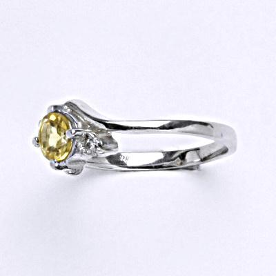 Stříbrný prsten, přírodní citrín pálený, prsten ze stříbra, T 1164