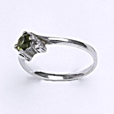 Stříbrný prsten, přírodní vltavín, prsten ze stříbra, T 1164