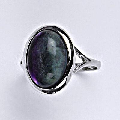 Stříbrný prsten s přírodním kamenem fluorit 14 x 10 mm T 1454