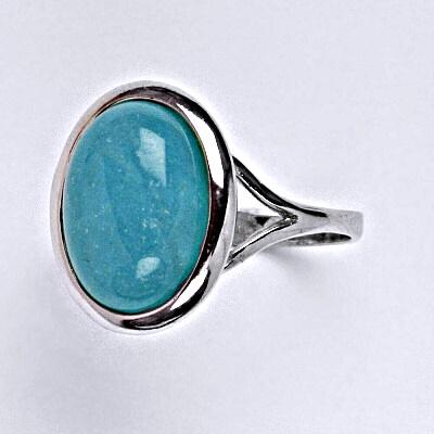 Stříbrný prsten s přírodním kamenem amazonit 14 x 10 mm, T 1454