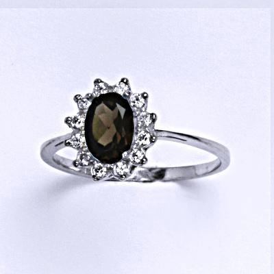 Stříbrný prsten Kate, přírodní záhněda čiré zirkony, prstýnek ze stříbra, T 1480