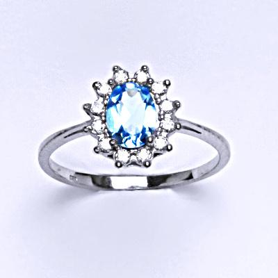 Stříbrný prsten Kate, přírodní topaz swiss a čiré zirkony, prstýnek ze stříbra, T 1480