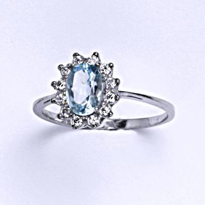 Stříbrný prsten Kate, přírodní topaz sky a čiré zirkony, prstýnek ze stříbra,T 1480