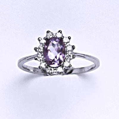Stříbrný prsten Kate, přírodní ametyst světlý a čiré zirkony, prstýnek ze stříbra, T 1480