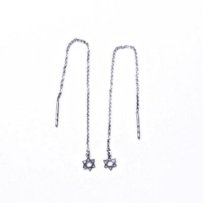 Stříbrné náušnice řetízkové,davidova hvězd, protahovací náušnice, NŘ 797