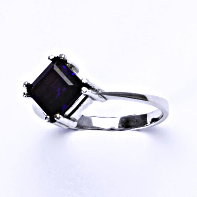 Stříbrný prsten, přírodní ametyst tmavý, prstýnek ze stříbra, T 1258