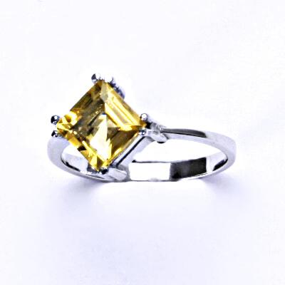 Stříbrný prsten, přírodní citrín pálený, prstýnek ze stříbra, T 1258