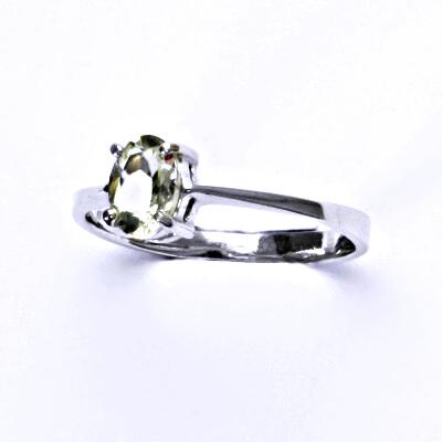 Stříbrný prsten, přírodní green ametyst,prstýnek ze stříbra, T 1246