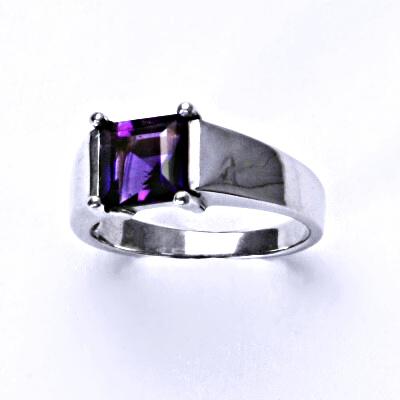 Stříbrný prsten, přírodní ametyst tmavý, prstýnek ze stříbra, T 1404