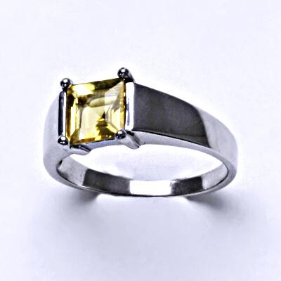 Stříbrný prsten, přírodní citrín pálený, prstýnek ze stříbra, T 1404