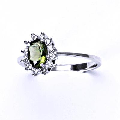 Stříbrný prsten Kate, přírodní vltavín, prstýnek ze stříbra, čiré zikony, T 1480