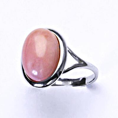 Stříbrný prsten,přírodní růžový opál,prstýnek ze stříbra,T 1454