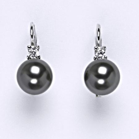 Stříbrné náušnice Swarovski perly dark gray 8 mm NK 1207