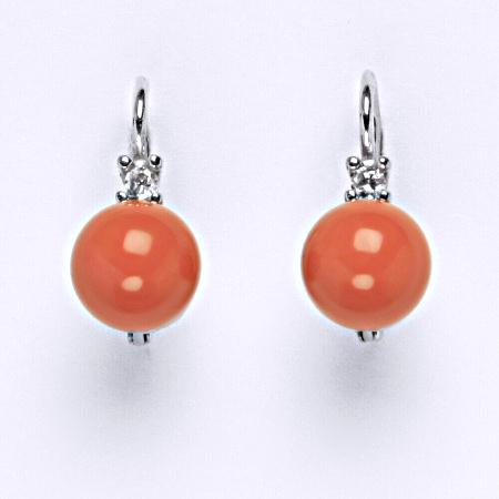 Stříbrné náušnice Swarovski perly coral 8 mm NK 1207