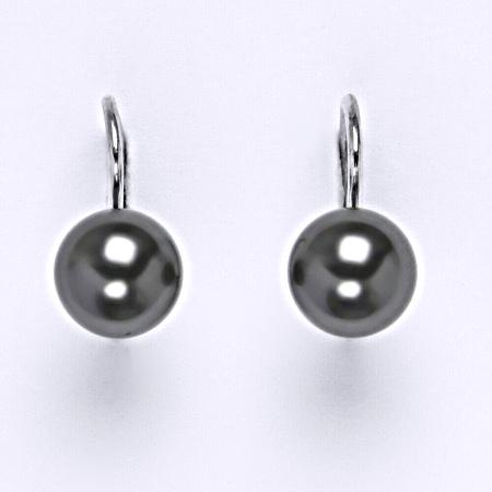 Stříbrné náušnice Swarovski perly dark gray 8 mm NK 1356