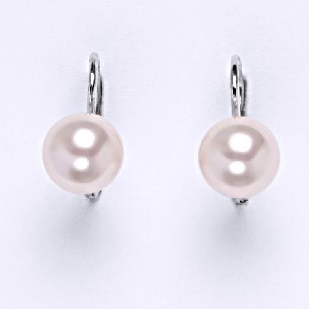 Stříbrné náušnice Swarovski perly rosaline 8 mm NK 1183