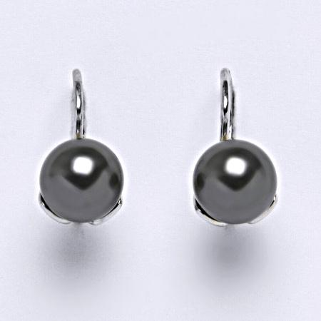 Stříbrné náušnice. šperk. Swarovski perly dark gray NK 1351