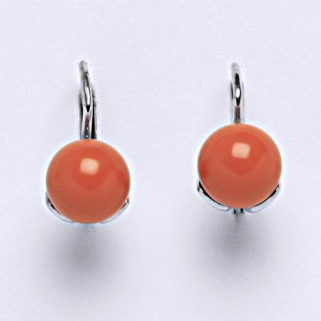 Stříbrné náušnice Swarovski perly coral 8 mm NK 1352. šperk
