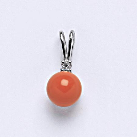 Stříbrný přívěšek Swarovski perla coral P 1207