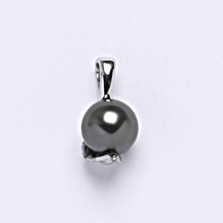 Stříbrný přívěšek Swarovski perla dark gray P 1215- 8 mm