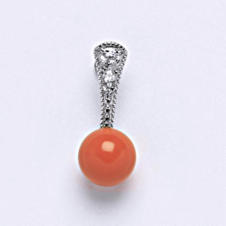 Stříbrný přívěšek Swarovski perla coral P 1241