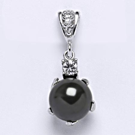 Přívěšek stříbrný šperk. Swarovski perla black P 1190/2