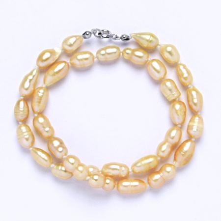 Náhrdelník perly pravé říční,šperky se stříbrným zapínáním, uzlíkované, 7 - 8 mm lososové