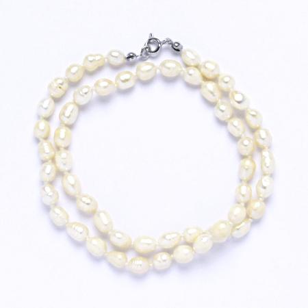 Náhrdelník perly pravé říční,šperky se stříbrným zapínáním, uzlíkované, 7 - 8 mm bílé 2