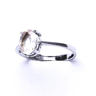 Stříbrný prsten, stříbro, přírodní růženín, prstýnek ze stříbra, T 1245