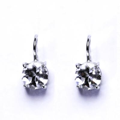 Stříbrné náušnice,přírodní křišťál,stříbro, NK 1252