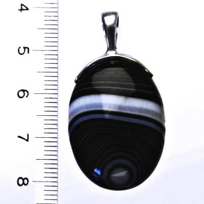 Přírodní onyx, stříbrný přívěsek s přírodním onyxem, 8,99 g