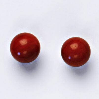 Stříbrné náušnice, přírodní korál červený dobarvovaný, NŠ 1356