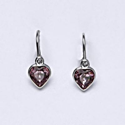 Stříbrné náušnice, srdce, s krystalem Swarovski light ametyst NK 1315