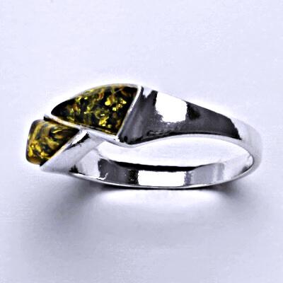 Stříbrný prsten s přírodními jantary, prsten ze stříbra, jantar, 3,05 g