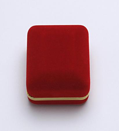 Sametová krabička na šperky, červená s Au linkou, CD-2/A7