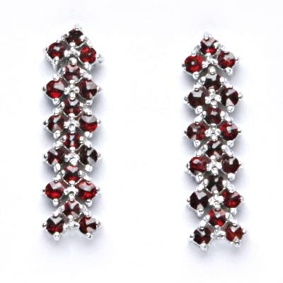 Stříbrné náušnice, přírodní granát, šperky s granáty, 3,86 g