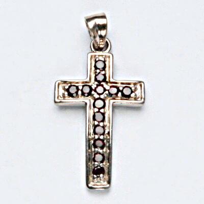 Stříbrný přívěsek, přírodní granát, šperky s granáty, stříbro, křížek, 4,82 g
